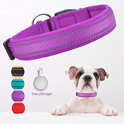Dog Collar, Weatherproof Puppy Collars, Adjustable Reflective Neoprene Padded Basic Dog Collars