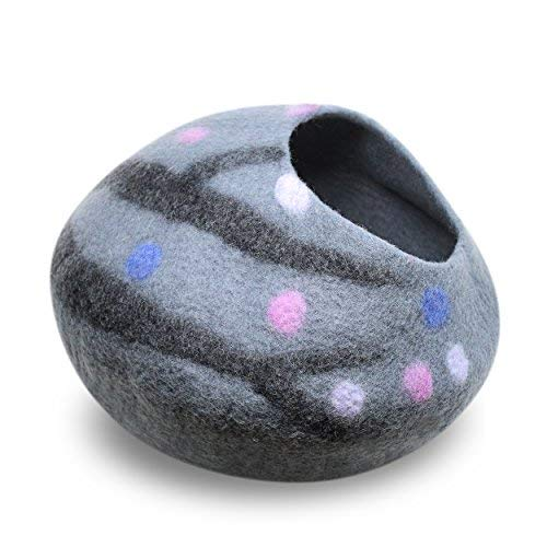Juccini Handcrafted Felted Wool Cat Cave Bed for Cat and Kittens - Felted from 100% Natural Wool (Grey/Purple Dots, Medium)