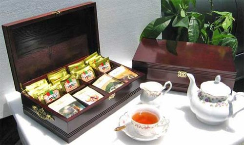 (SMALL Tea Bag Chest Storage Cabinet Wood Box, Solid Wood, 8 slots (Mahogany Finish) )