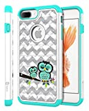 iPhone 8 Plus/iPhone 7 Plus Case, Style4U Cute Owl Shock Resistant Studded Rhinestone Crystal Bling Hybrid Armor Case Cover w/ 1 Stylus [White / Teal]