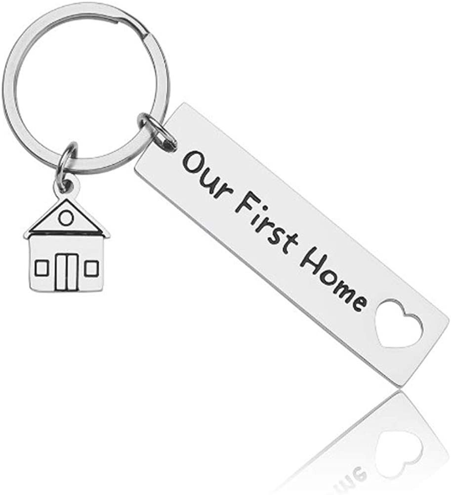 Housewarming Christmas Gifts New Home Keychain Our First Home for Homeowner Couples Men Husband Women Wife Friends Moving Home Gift Keyring Jewelry