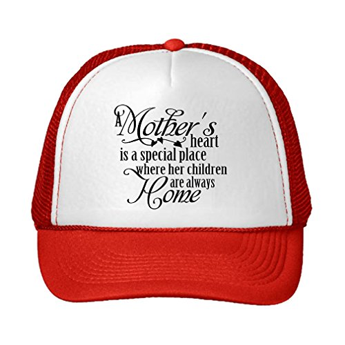 - Speedy Pros MotherS Heart Special Place Where Her Children Adjustable Trucker Hat Cap Red