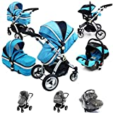 i-Safe System - Ocean Trio Travel System Pram & Luxury Stroller 3 in 1 Complete With Car Seat + Rain Covers