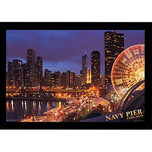 Chicago Navy Pier Poster  in a Black Wood Frame