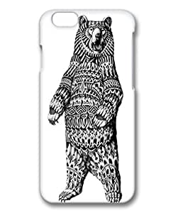 Hard Back Cover Case for iphone 6,3D White Fashion PC Shell Skin for iphone 6 with Ornate Grizzly Bear