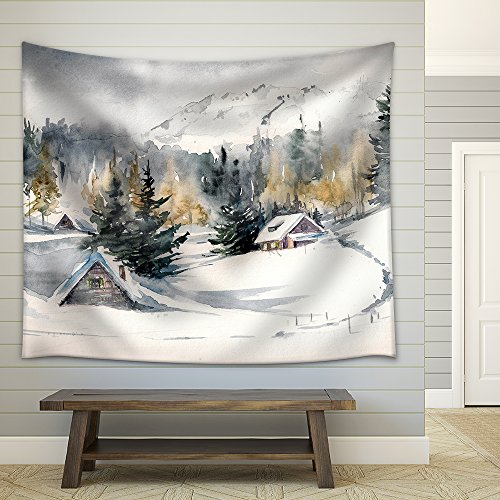 Winter Landscape with Mountain Village Covered with Snow Picture Created with Watercolors on Paper Fabric Wall Tapestry