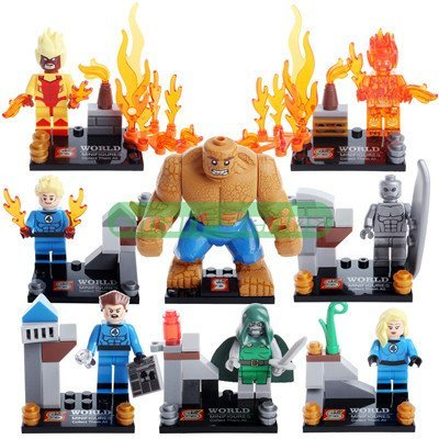 8 Piece Building Blocks Super Heroes Avengers Fastic Four Minifigures the Thing Bricks Action Mini Figures Without Original Boxes