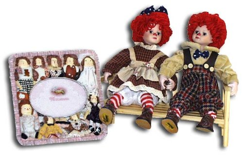 Girls Raggedy Ann and Andy Picture Frame and Dolls Gift Set