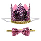 Petsidea Cute Pet Birthday Crown Hat and Bow tie Collar Set for Dog Cat Birthday Party Supplies (Purple)