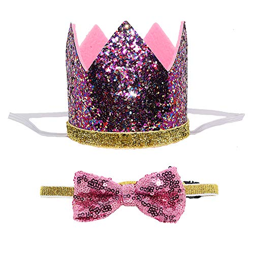 Petsidea Cute Pet Birthday Crown Hat and Bow tie Collar Set for Dog Cat Birthday Party Supplies (Purple) by Petsidea (Image #5)