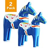 FishMM Set of 2 Europe's Swedish Wooden Dala Horse Figurine, Dalecarlian Horse Ornaments, Color Painting Classical Handicraft