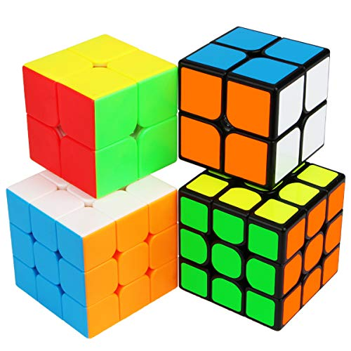 Speed Cube Bundle, Aitbay Magic Cube Set 2x2 3x3 Stickerless & Sticker Cube Speedcubing Smooth Puzzle Game Toy Brain Teaser Gift (4 Pack)