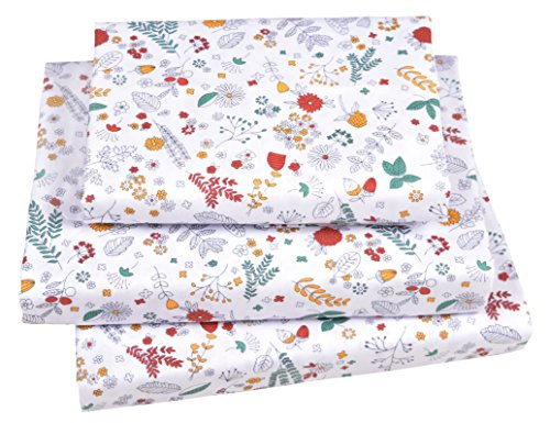 J-pinno Cute Floral & Leaves Twin Sheet Set for Kids Girls Children,100% Cotton, Flat Sheet + Fitted Sheet + Pillowcase Bedding Set
