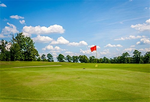 CSFOTO 7x5ft Background for Golf Course with Flag Photography Backdrop Grassland Meadow Nice Day Blue Sky Golf Links Leisure Lifestyle Holiday Relax Vacation Photo Studio Props Polyester Wallpaper