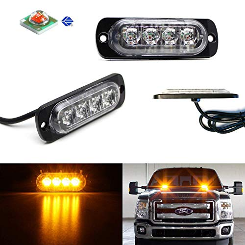 iJDMTOY (2) Amber LED Strobe Warning Light Flashers For Truck, Jeep, 4x4, ATV, Construction Vehicles etc. Ultra Slim Extremely Bright Warning Lamps Each Powered by (4) High Power CREE LED Lights ()