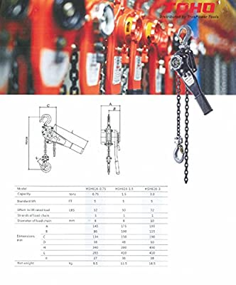 TOHO HSH-616 Lever Block / Ratchet Puller Hoist