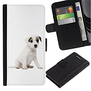 All Phone Most Case / Oferta Especial Cáscara Funda de cuero Monedero Cubierta de proteccion Caso / Wallet Case for Sony Xperia Z1 Compact D5503 // Jack Russell Terrier Puppy White Dog