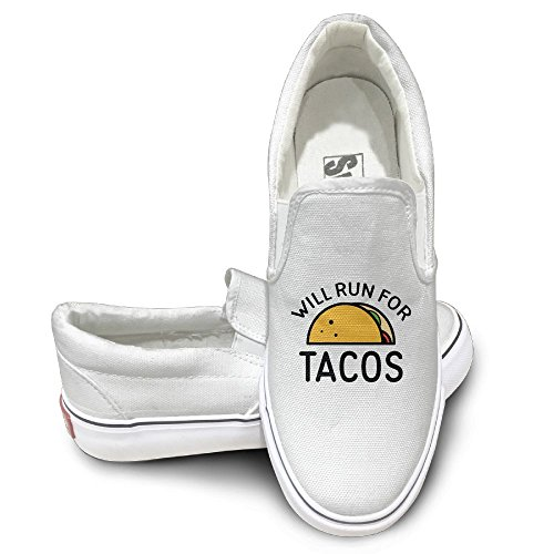 SH-rong Will Run For Tacos Unisex Canvas Sneakers Shoes Size 38 White