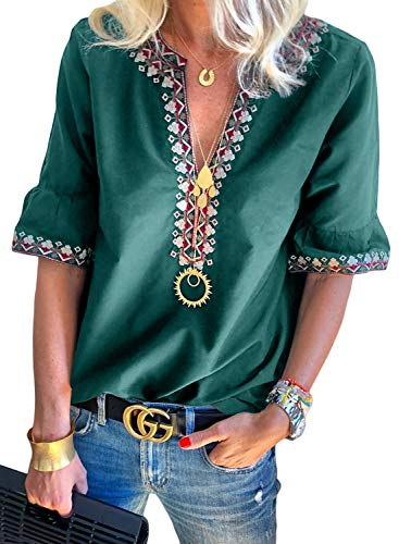 Floral Petite Blouse - LOSRLY Women V Neck Floral Embroidered Summer Casual T-Shirts Short Sleeve Petite Tops Boho Style Blouses Green S