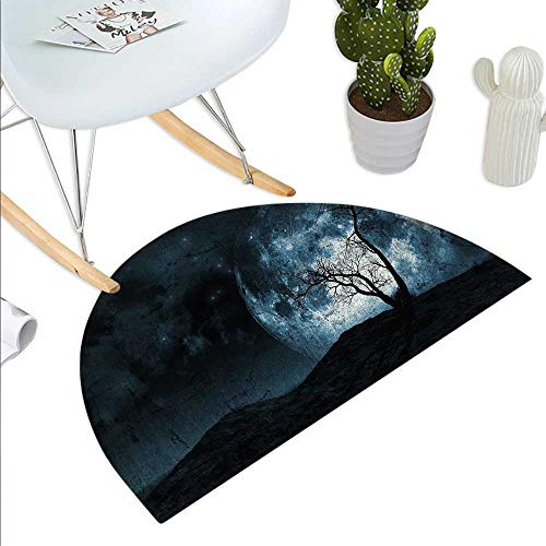 Anniutwo Fantasy Half Round Door mat Night Moon Sky with Tree Silhouette Gothic Halloween Colors Scary Artsy Background Half Round Coir Door mat Slate Blue -