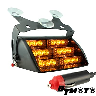 DT MOTO™ Amber 18x LED Tow Truck Warning Vehicle Strobe Dash Light - 1 unit