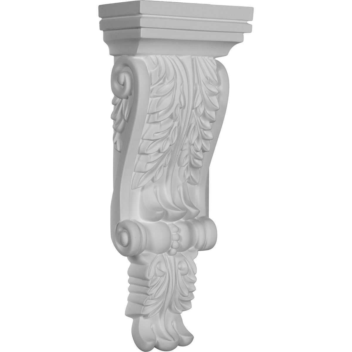 , 4-Pack Ekena Millwork COR12X04X02LE-CASE-4 4 3//4 inch W x 2 3//4 inch P x 12 1//4 inch H Legacy Acanthus Corbel