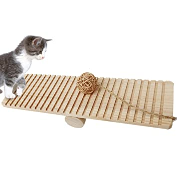 Pet Cat Claws Game Puzzle Kitten Table Agarrar Tabla, Balancín De Madera Pet Cat Toy Balance ...