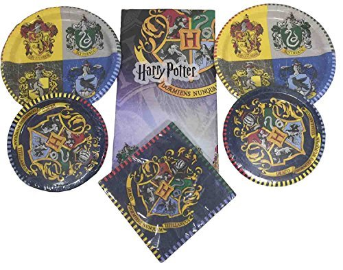 FB Merchandising Harry Potter Party Supplies Pack For 16 Bundle - Includes Tablecloth, 16 Dinner Plates, 16 Dessert Plates, and 16 Dinner ()