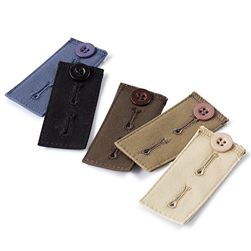 5-pack Waist Extenders, Adjustable Waist Expanders, Fabric Pants, Khakis, Jean Button Extender, Cotton Maternity Extender, 5 Colors Buttonhole Fabric