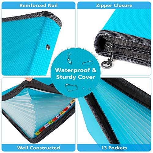 Expanding File Folder, 13 Pockets Accordion File Folder Document Organizer, A4 Document Accordion Folder with Zipper Closure, Portable Wallet Filling Storage (Blue)