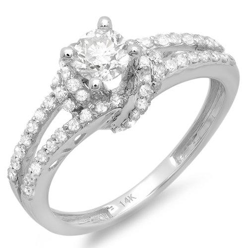 White Gold Round Diamond Ladies Bridal Semi Mount Ring (No Center Stone) (Size 7) (Ladies Round Diamond Semi Mount)