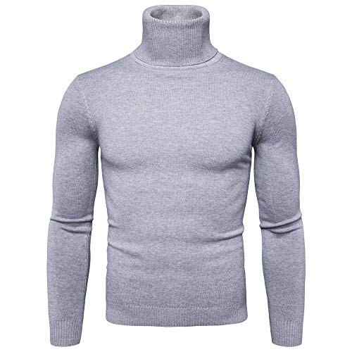 GREFER Men Pullover Sweater Autumn Winter Warm Turtleneck Long Sleeve Slim Shirt Top Gray -