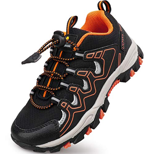 UOVO Boys Shoes Boys Running Sneakers Tennis Hiking Shoes Kids Athletic Outdoor Sneakers Slip Resistant(Little Boys/Big Boys) (5 M US Big Kid, Black/Orange)