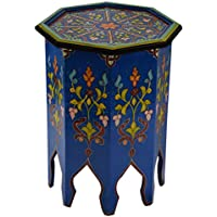 Moroccan Handmade Wood Table Side Delicate Hand Painted Blue Exquisite