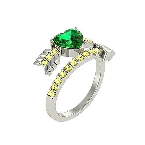 Mejor compromiso anillos de boda en 1,55 Ct color verde circonitas cúbicas con forma