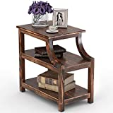 Tribesigns Solid Wood Chairside End Table Rustic Nightstand with Storage Shelves for Bedroom, Living Room, Entryway (Burnout)