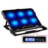 TopMate 12.6-15 inch 1500RPM Strong Wind Laptop Cooling pad, Six Quite Fans and LCD Screen Two USB Ports