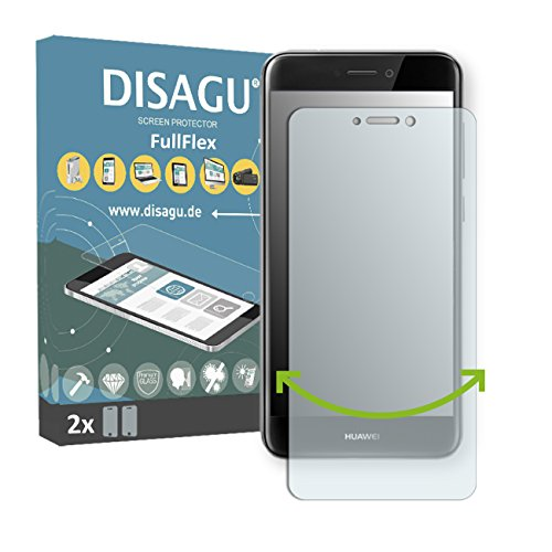 Price comparison product image 2 x Disagu FullFlex screen protector for Huawei P8 Lite (2017) foil (screen protector fits accurately on any curved display)