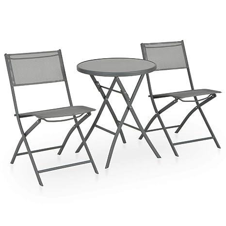 vidaXL Set Muebles Comedor Plegable Jardín 3 Piezas Acero ...