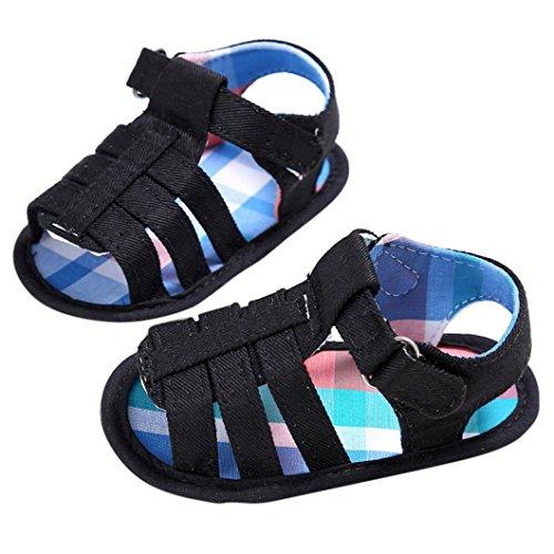 OverDose Baby-Kind-Kind-Mädchen-Jungen-Weich Sohle Canvas Krippe Kleinkind Newborn Sandalen Schuhe (0-18Monate) Schwarz