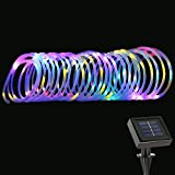 LE 33ft 100 LED Solar Rope Lights, Waterproof Outdoor Rope Lights, Red/Green/Blue/Warm White, Portable LED String Light with Light Sensor, for Wedding, Party, Decorations, Gardens, Lawn, Patio