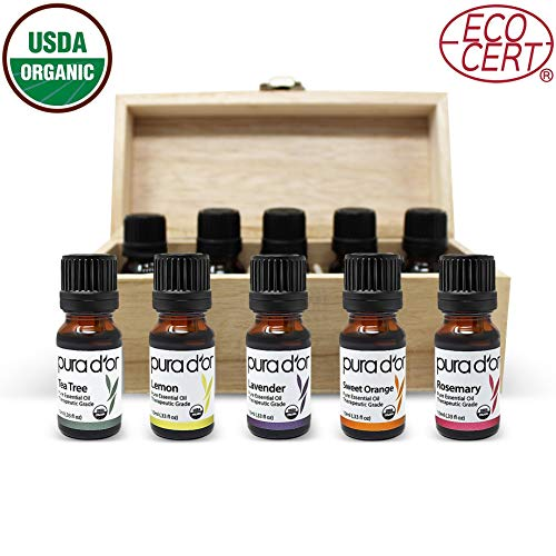 PURA D'OR Essential Oils Wood Box 10mL 10-Set 100% Pure USDA Organic Therapeutic Grade (Tea Tree, Lemon, Lavender, Sweet Orange, Rosemary, Lemongrass, Frankincense, Peppermint, Eucalyptus, Cedarwood)