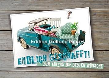 Postkarte Alter Lastwagen Umzug Endlich Geschafft Amazon De
