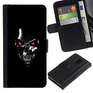 SAMSUNG Galaxy S5 V / i9600 / SM-G900 , la tarjeta de Crédito Slots PU Funda de cuero Monedero caso cubierta de piel ( Robot Skull Black Scary Movie Technology)