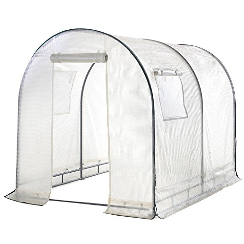 Abba Patio Walk in 8'L x 6'W x 6.6'H Greenhouse Fully Enclosed with Windows, White