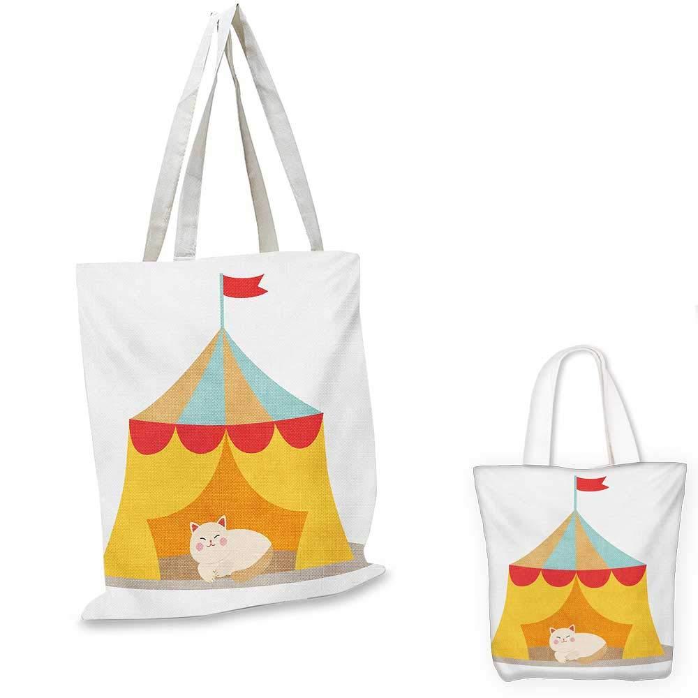 Circus canvas messenger bag Furry Cat Kitten in a Circus Tent Smiling Fun Joy Famous Nostalgic Memory Artwork canvas beach bag Yellow Red 14x16-11
