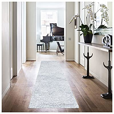 "Superior Textured Shag Runner Rug, White, 2' 7"" x 8' - DURABLE, SOFT, and PLUSH: Our Shag rugs are hand tufted with a half inch of soft pile height which is plush underfoot yet withstands high traffic PERFECT MATCHING COLORS: Burgundy, beige, black, cocoa, cyan, grey, ivory, marina, navy blue, ocean blue, purple, spiced coral, sage, silver, white FINE CONSTRUCTION: Visible glowing sheen from every angle, this hand-tufted shag rug is skillfully constructed with a sturdy cotton canvas backing - runner-rugs, entryway-furniture-decor, entryway-laundry-room - 51BfEqBrpBL. SS400  -"