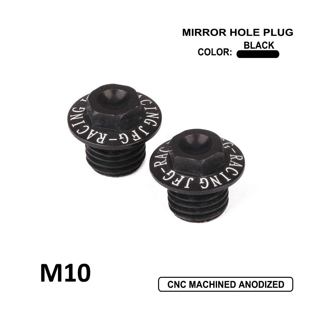 Un Xin Confezione da 2/Tappi di Alluminio con Filettatura M10/x 1.25/CNC Specchio Tappo a Vite da Moto Nero