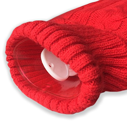 Attmu Classic Rubber Transparent Hot Water Bottle 2 Liter with Knit Cover - Red