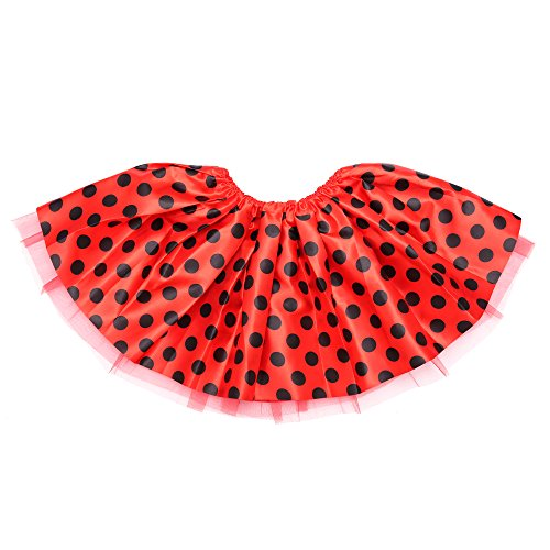 Anleolife Kids Girl Tutu Skirts Dance Ballet Princess Birthday Dot Tutus Dress 2 Layers Polyester Gift Party (large, deep red) Dot Petticoat
